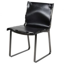 BLACK LEATHER INDUSTRIAL CHAIR