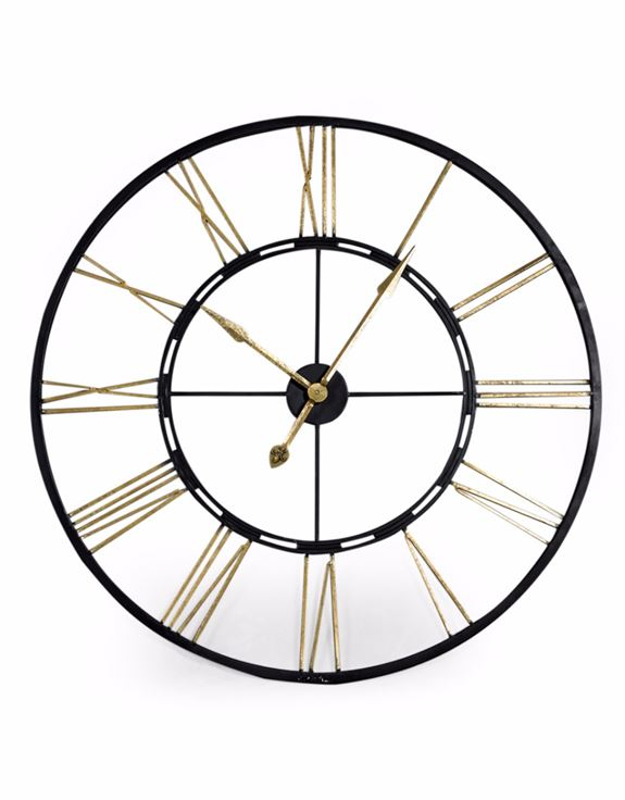 Large Black and Gold Iron Clock