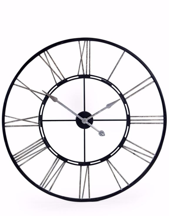 Large Black and Silver Iron Clock