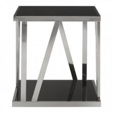 BLACK GLASS SIDETABLE