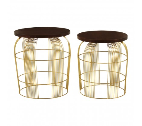 SET OF BRASS COLOUR WIRE TABLES