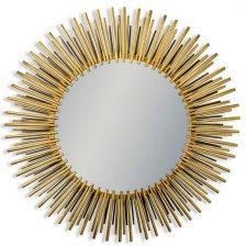 Antiqued Brass Round Sun Mirror