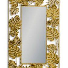 Gold Tropic Leaf Rectangular Mirror
