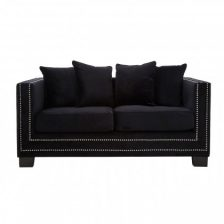 Black Modern Studded Sofa 2 Seat