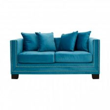 Turquoise Modern Studded Sofa 2 Seat