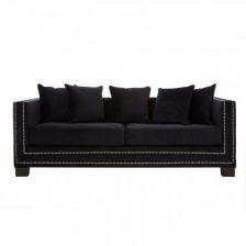 Black Modern Studded Sofa 3 Seat