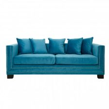 Turquoise Modern Studded Sofa 3 Seat