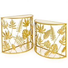 Set of 2 Gold Tropical Consoles
