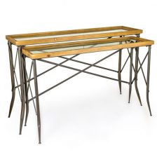 Set of 2 Metal and Wood Consoles