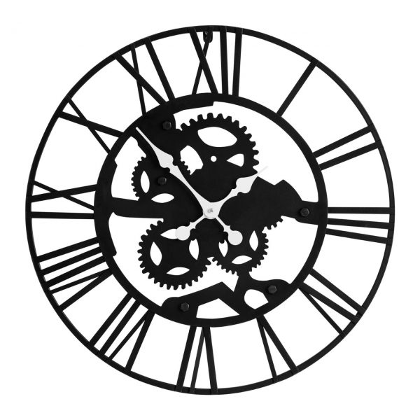 INDUSTRIAL BLACK COGS METAL CLOCK