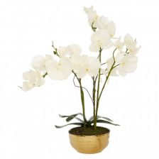 WHITE FAUX ORCHID IN A GOLD POT