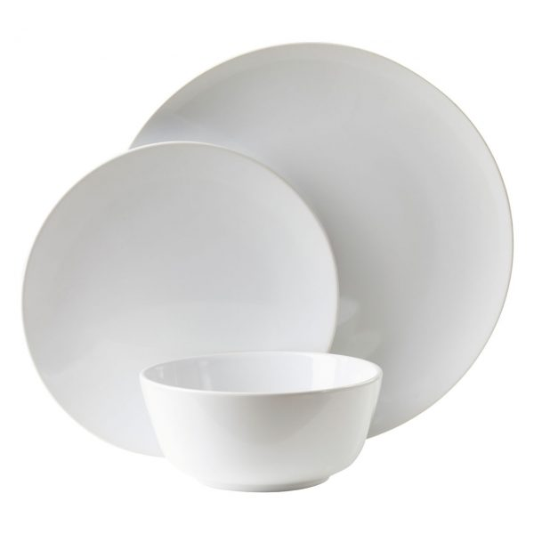 MODERN WHITE STONEWARE DINNER SET