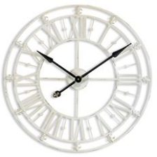 ANTIQUE AGED WHITE METAL OUTLINE CLOCK