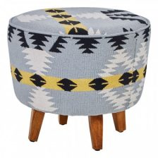ROUND MULTI-COLOUR ZIGZZAG STOOL