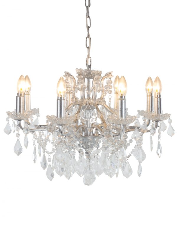 Antiqued Silver 8 Branch Shallow Chandelier