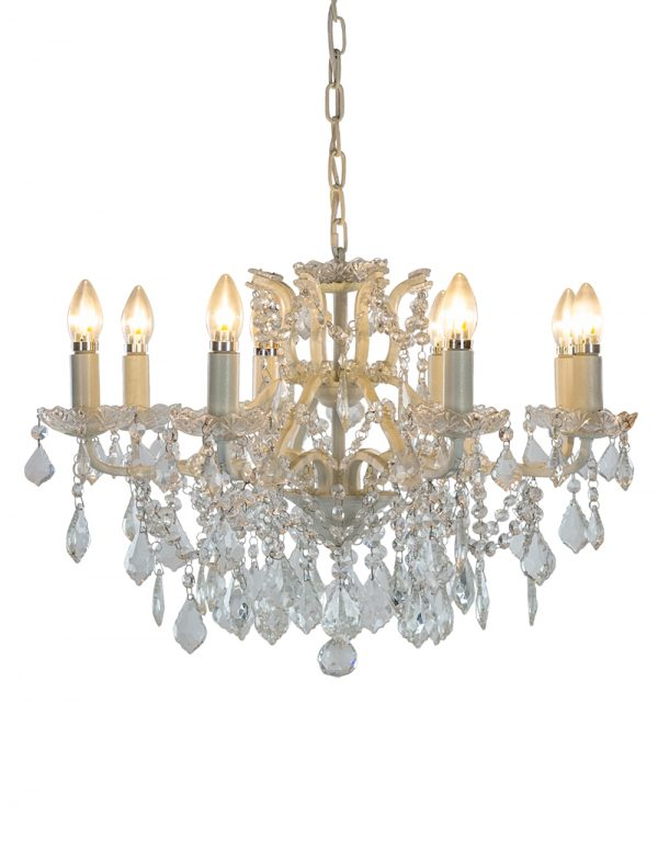 Antiqued White 8 Branch Shallow Chandelier