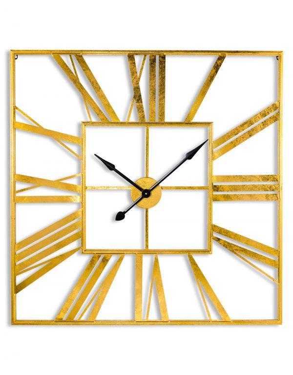 Boho Gold Square Skeleton Clock