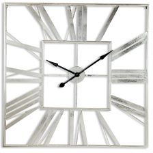 Boho Silver Square Skeleton Clock