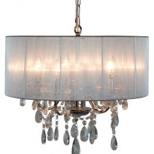 Chrome Silver Shade 5 Branch Chandelier