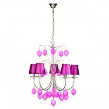 Hot Pink 5 Arm Chandelier