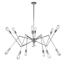Modern Polished Chrome 12 Arm Chandelier