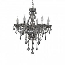 Smoked Crystal 6 Arm Chandelier