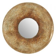 ROUND BOHEMIAN OLD GOLD HAMMERED MIRROR