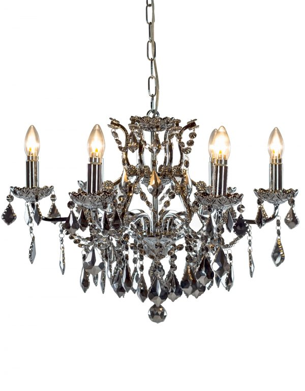 Chromed Crystal 6 Branch Shallow Chandelier