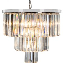 Large Chrome Drop Cascade Chandelier
