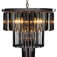 Large Chrome Smoke Drop Cascade Chandelier