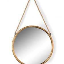 ROUND GOLD METAL HANGING ECLECTIC MIRROR