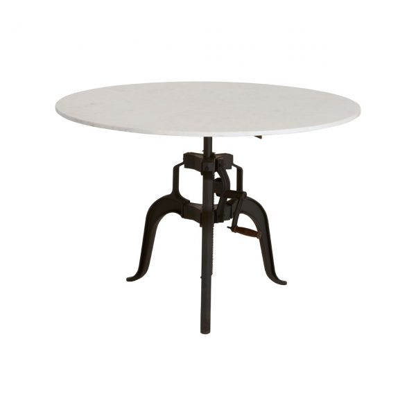 3 Leg Large Marble and Iron Table