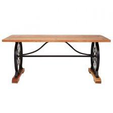 Modern Acacia Wheel Dining Table
