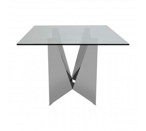 Modern Chrome and Glass Dining Table 1