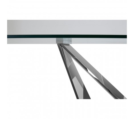 Modern Chrome and Glass Dining Table 3