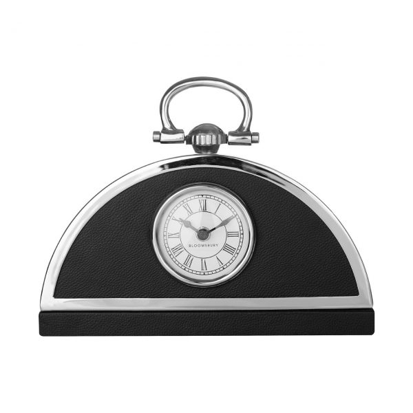 CHIC ART DECO BLACK CHROME MANTLE CLOCK