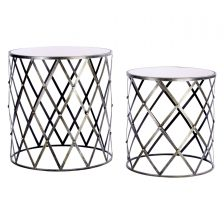 METAL DIAMOND FRAME SIDETABLE SET