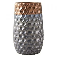 HONEYCOMB TEXTURE METALLIC SILVER AND COPPER VASE