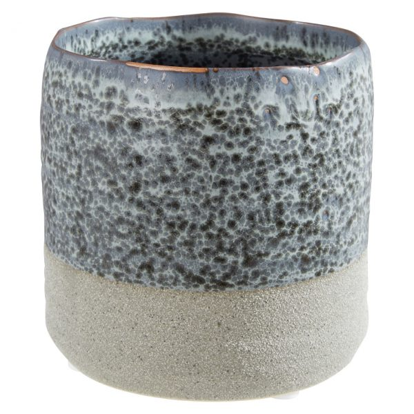 SMALL HAND MADE GREY PLANT POT
