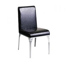 Contemporary Black Crocodile Leather Effect Chair