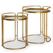 Gold Leaf Set of 2 Side Tables