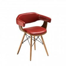 Modern Leather Effect Dining Chair with Arms