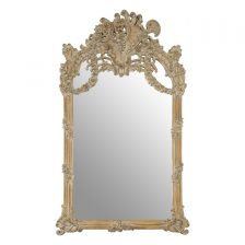 LARGE ANTIQUE IVORY BAROQUE STYLE MIRROR