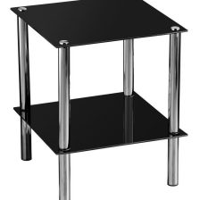 BLACK GLASS AND CHROME SIDETABLE