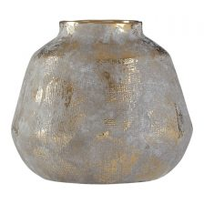 BULBOUS GREY GOLD METALLIC VASE