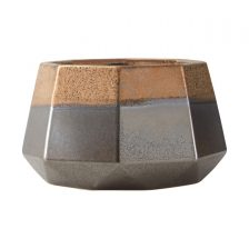 LARGE COPPER SILVER GEOMETRIC POT