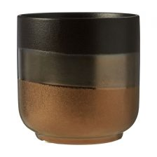 BLACK AND GOLD METALLIC STONEWARE PLANTER