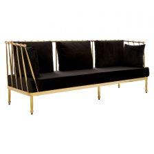 GOLD FRAME THREE SEAT BLACK VELVET SOFA