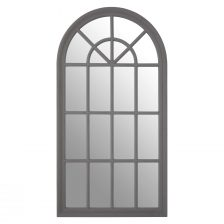 CURVED AND PANELLED GREY WINDOW MIRROR