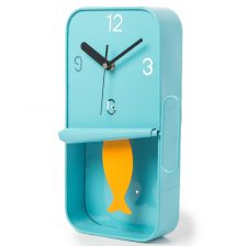 BLUE SARDINE TIN CLOCK WITH ORANGE PENDULUM